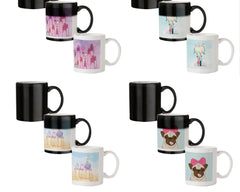 Girl with lipsticks sketch design 330 ml black magic mugs| Design appears when hot water is poured.