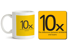 1 mug and 1 coaster with design as: Difference between losers and winners design 330 ml mug and 4 inches coaster
