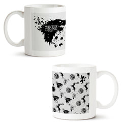 Set of 2 printed white coffee mugs with designs like: Set-of-2-printed-white-coffee-mugs-with-designs-like:-GOT-Winter-is-coming-design--|-11-ounce-mugs | 11 ounce mugs