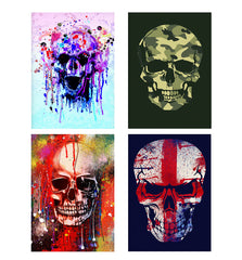 Set of 4 posters with designs like Skull colours splashed designDecorate your walls, wardrobes with these 12 inches * 18 inches posters