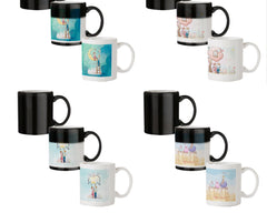 Couple on moon sketch design 330 ml black magic mugs| Design appears when hot water is poured.