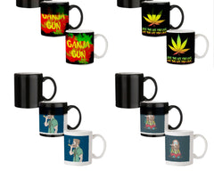 Ganja Gun being high  330 ml black magic mugs| Design appears when hot water is poured.