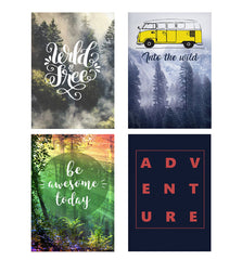 Set of 4 posters with designs like Wild and free Wanderlust  designDecorate your walls, wardrobes with these 12 inches * 18 inches posters