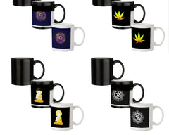 Colourful Om rangoli design 330 ml black magic mugs| Design appears when hot water is poured.