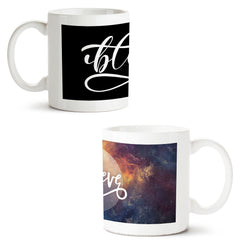 Set of 2 printed white coffee mugs with designs like: Set-of-2-printed-white-coffee-mugs-with-designs-like:-#Blessed-design-|-11-ounce-mugs | 11 ounce mugs