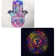 Set of 2 printed mousepads with designs like Ethnic pattern on palm design