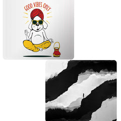 Set of 2 printed mousepads with designs like Good vibes only gyaan dog  design,