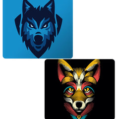 Set of 2 printed mousepads with designs like Wolf logo design