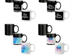 Positive motivation design  330 ml black magic mugs| Design appears when hot water is poured.