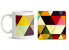 1 mug and 1 coaster with design as: Awesome colourful triangles abstract design 330 ml mug and 4 inches coaster