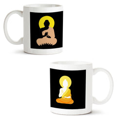 Set of 2 printed white coffee mugs with designs like: Set-of-2-printed-white-coffee-mugs-with-designs-like:-Gautama-Buddha---design,---|-11-ounce-mugs | 11 ounce mugs