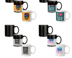 Chal Paka Mat Funny Hindi Desi Quotes design,   330 ml black magic mugs| Design appears when hot water is poured.