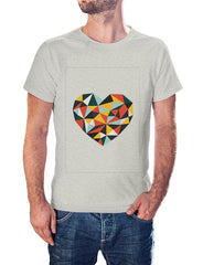 Colorful Heart with Graphic Design    round neck printed t-shirt