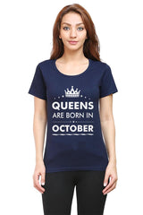 Queens are born in October design   woman round neck tshirts
