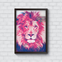 Zoomed pixel look of Lion design   Wall Frames