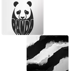 Set of 2 printed mousepads with designs like White Panda  design,