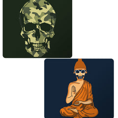 Set of 2 printed mousepads with designs like Camouflage skull design