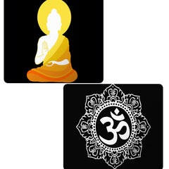 Set of 2 printed mousepads with designs like Buddha sketch design