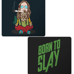 Set of 2 printed mousepads with designs like Smoking high design