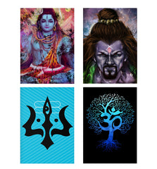 Set of 4 posters with designs like Shiva painted design Decorate your walls, wardrobes with these 12 inches * 18 inches posters