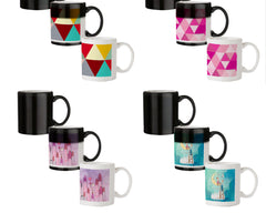 Awesome colourful triangles abstract design 330 ml black magic mugs| Design appears when hot water is poured.