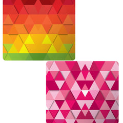 Set of 2 printed mousepads with designs like Colourful texture pattern
