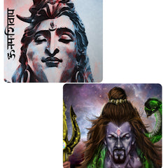 Set of 2 printed mousepads with designs like Shiva face