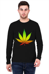 Marihuana colour contrasting design   printed full sleeve t-shirt