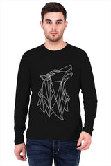 Lines Wolf Design   printed full sleeve t-shirt