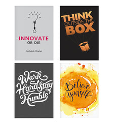 Set of 4 posters with designs like Innovate Or Die White And Pink Design- Constant Reminder To Innovate. design,  Decorate your walls, wardrobes with these 12 inches * 18 inches posters