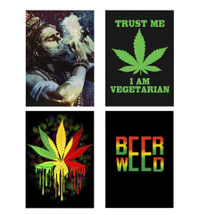 Set of 4 posters with designs like Smoking weed design Decorate your walls, wardrobes with these 12 inches * 18 inches posters