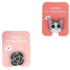 Motivatebox ,Funny pink cat winkey ,Flower black white designed 2 cartooon grip holders for phones/tablets (Expandable phone stands)