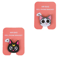 Motivatebox ,Funny pink cat winkey ,Black Cat  designed 2 cartooon grip holders for phones/tablets (Expandable phone stands)