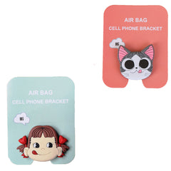 Motivatebox ,Funny pink cat winkey ,Girl lip smacking  designed 2 cartooon grip holders for phones/tablets (Expandable phone stands)