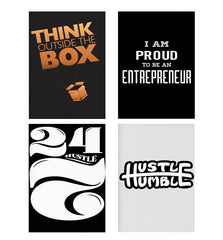 Set of 4 posters with designs like Think Outside The Box- Entrepreneur Lines design,  Decorate your walls, wardrobes with these 12 inches * 18 inches posters