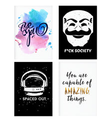 Set of 4 posters with designs like Be yourself design Decorate your walls, wardrobes with these 12 inches * 18 inches posters