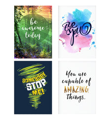 Set of 4 posters with designs like Motivational quotes design Decorate your walls, wardrobes with these 12 inches * 18 inches posters