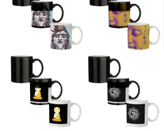 Shiva face    330 ml black magic mugs| Design appears when hot water is poured.