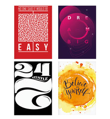 Set of 4 posters with designs like No One Said It Would Be Easy- Start-Up Struggle Quotes design,  Decorate your walls, wardrobes with these 12 inches * 18 inches posters