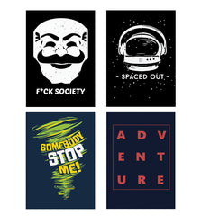 Set of 4 posters with designs like Fuck society design Decorate your walls, wardrobes with these 12 inches * 18 inches posters