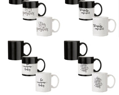 Stay positive design 330 ml black magic mugs| Design appears when hot water is poured.