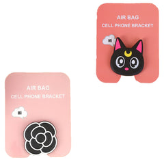 Motivatebox ,Black Cat ,Flower black white designed 2 cartooon grip holders for phones/tablets (Expandable phone stands)