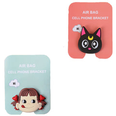 Motivatebox ,Black Cat ,Girl lip smacking  designed 2 cartooon grip holders for phones/tablets (Expandable phone stands)