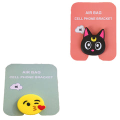 Motivatebox ,Black Cat ,Kiss smiley emoticon designed 2 cartooon grip holders for phones/tablets (Expandable phone stands)