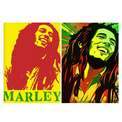 Set of 2 posters with designs like Red Bob Marley being high  Matte Laminated 12 inches*18 inches posters