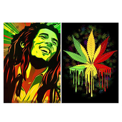 Set of 2 posters with designs like Bob Marley painting  Matte Laminated 12 inches*18 inches posters