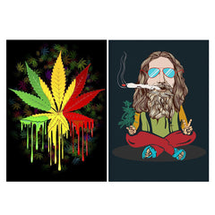 Set of 2 posters with designs like Marihuana colour contrasting pattern design Matte Laminated 12 inches*18 inches posters