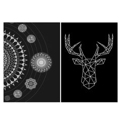 Set of 2 posters with designs like Ethnic design pattern Matte Laminated 12 inches*18 inches posters