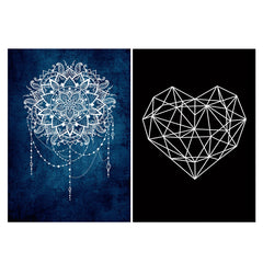 Set of 2 posters with designs like Ethnic design on blue pattern Matte Laminated 12 inches*18 inches posters