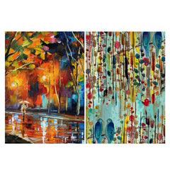 Set of 2 posters with designs like Walking in the rain Matte Laminated 12 inches*18 inches posters